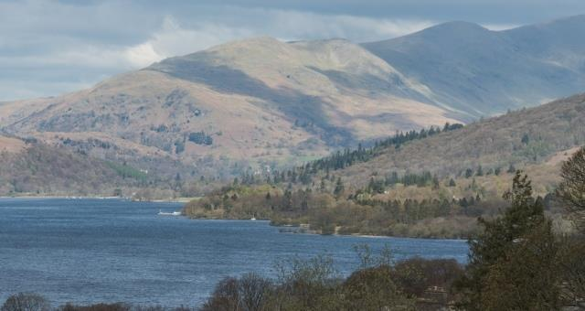 Panoramic view of Lake Windermere and fells